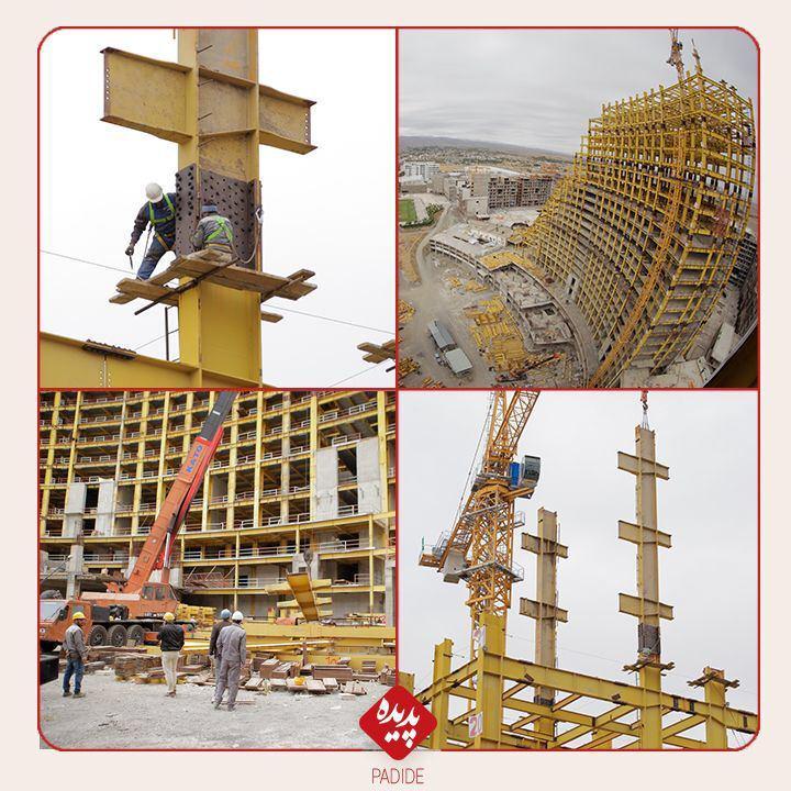 عملیات نصب ستون های پارت 10 اسکلت فولادی پروژه هتل پدیده شاندیز آغاز شد