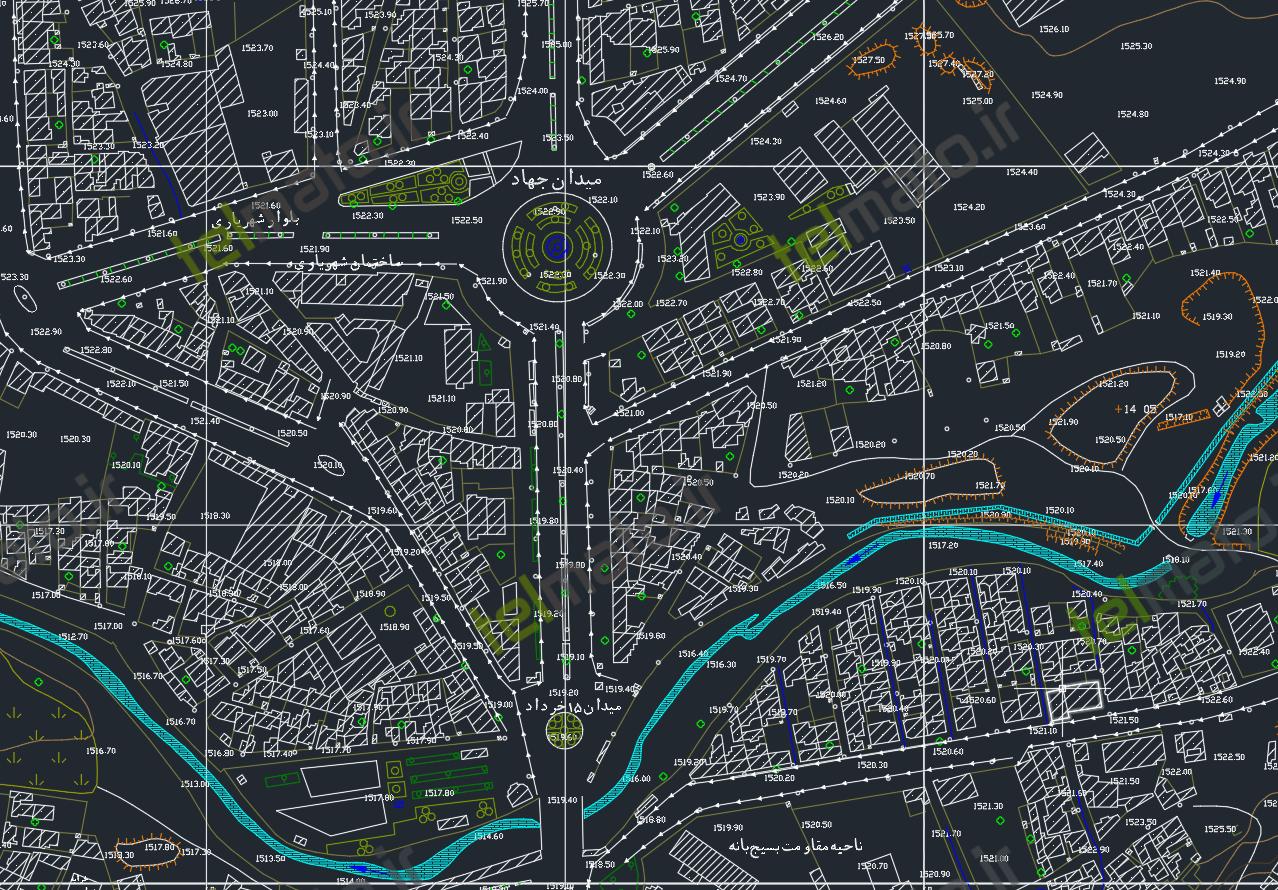 دانلود رایگان کامل نقشه اتوکد شهر بانه با فرمت DWG + فایل آماده