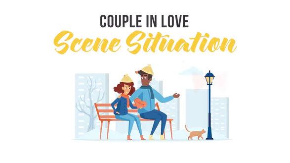 پروژه افترافکت قالب موشن گرافیک صحنه زن و شوهر عاشقانه در زمستان