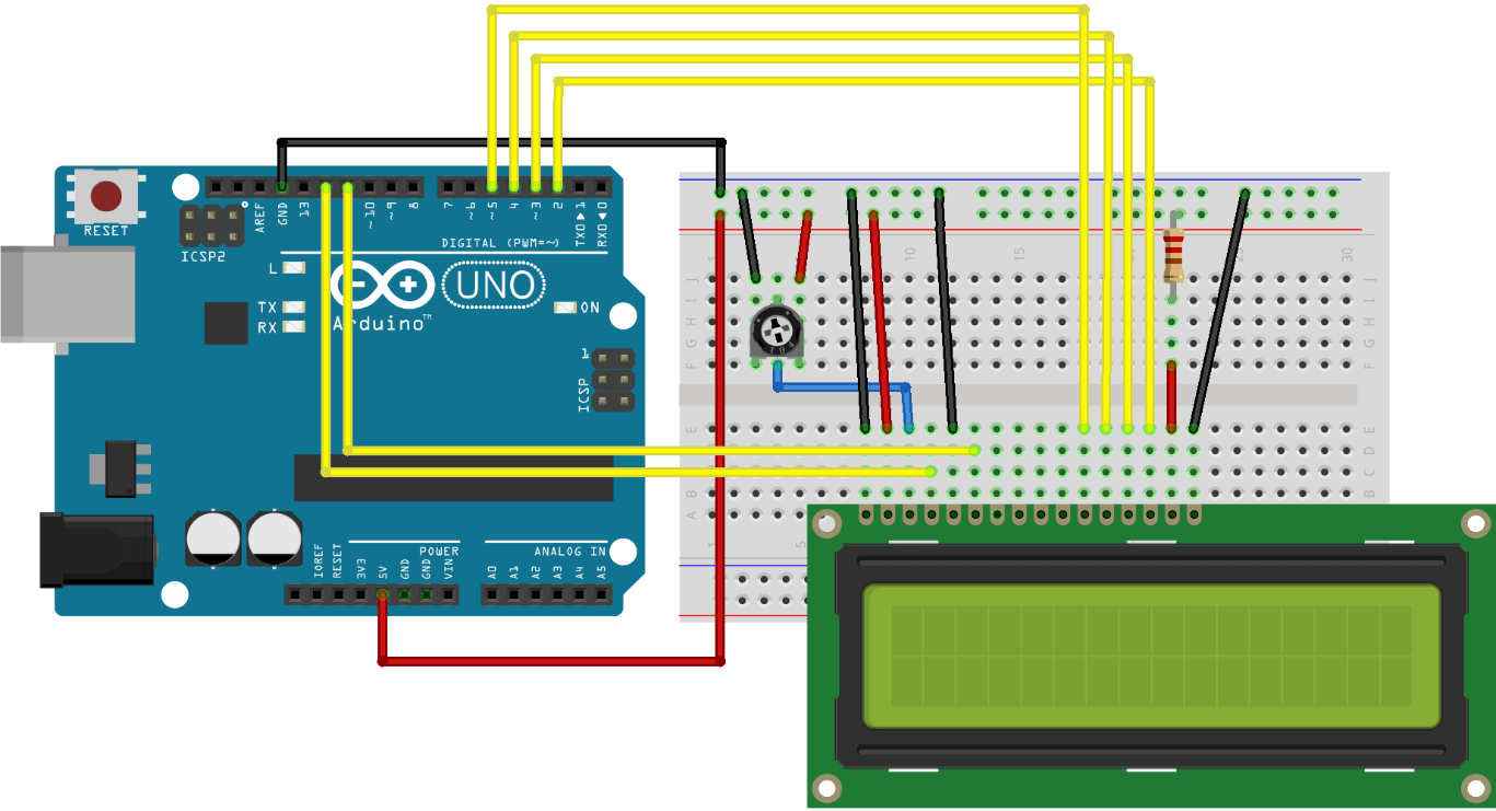 Schematic of I2C LCD startup circuit