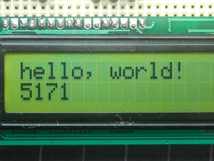 In the first line the phrase hello, world and in the second line a second counting