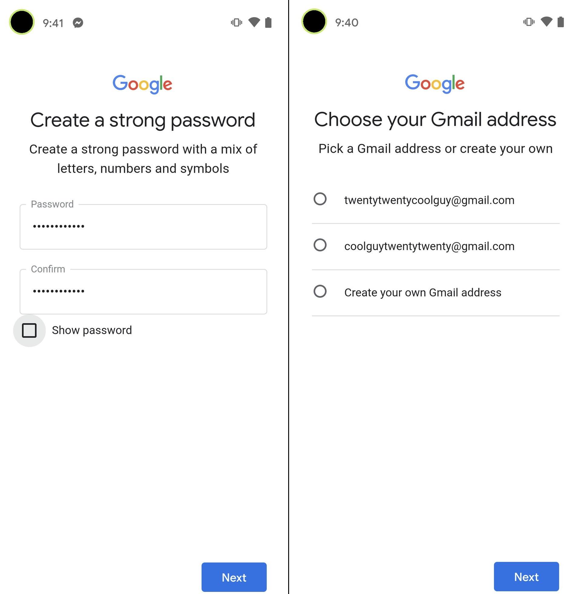 درست کردن حساب گوگل