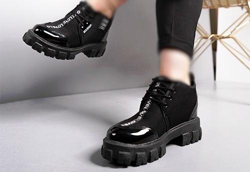 کفش نیم بوت اسپرت براق ورنی دخترانه زنانه مشکی