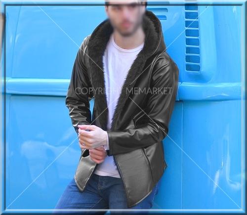 فروش هودی چرمی بلند مشکی پسرانه